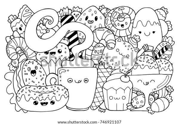 Doodle Candy Cute Cartoons Kawaii Style Stock Image Download Now