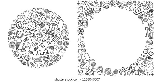 Doodle candy set. Collection of candies, cakes, sweets, ice cream and desserts. Hand drawn background. Vector illustrations.