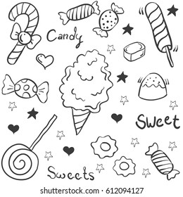 Doodle of candy various object
