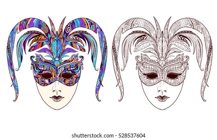 Doodle carnival mask page. Illustration for adult coloring book. It can be used for tattoo or print on t-shirt. Vector illustration.