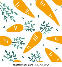 Doodle carrot vector seamless pattern. Hand drawn texture for kitchen wallpaper, textile, fabric, paper. Food background. Flat vegetables on white. Vegan, farm, natural