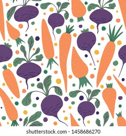 Doodle carrots and beetroot wallpaper. Hand drawn carrot and beet seamless pattern on white background.  Design for fabric, textile print, wrapping paper, children textile. Vector illustration
