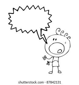 doodle cartoon boy complaining