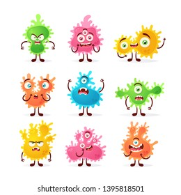 Doodle Cartoon Characters: Microbes. Vector Set