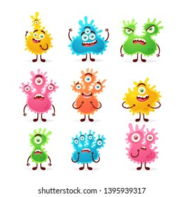 Doodle Cartoon Characters: Microbes. Vector Collection