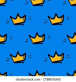 Doodle, cartoon golden crowns vector seamless pattern background.