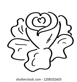 doodle cartoons rose on white background