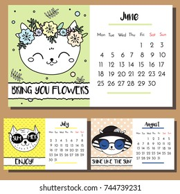 Doodle cat calendar design template. 2018 calendar with funny hand drawn style cats characters. Summer season