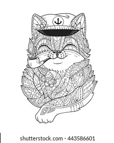 Doodle cat captain smoking pipe in vector. Hand-drawn animal head with floral ornament. Fluffy tomcat in zentangle style. Black and white illustration for adult coloring page, t-shirt print, poster.