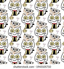 doodle cat , cute   animal cartoon   pattern background vector eps.10