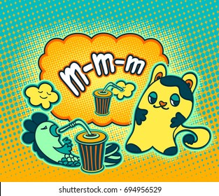 Doodle cat fish cloud  in pop art cartoon comic retro style drinking drink and thinking MMM on Speech bubble with halftone for advertising Rating quality product