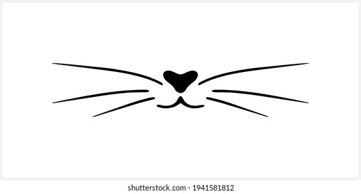 Doodle cat mustache  icon isolated on white. Outline hand drawing art line. Sketch logo animal. Vector stock illustration. EPS 10