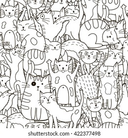 Doodle cats seamless pattern. Black and white cute background. Great for coloring book, wrapping, printing, fabric and textile. Vector illustration