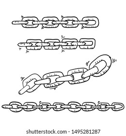 doodle chain collection illustration handdrawn cartoon style
