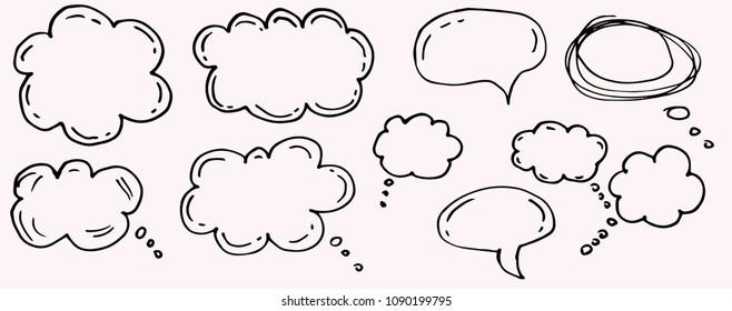 Doodle chat cartoon bubbles. Hand drawn set