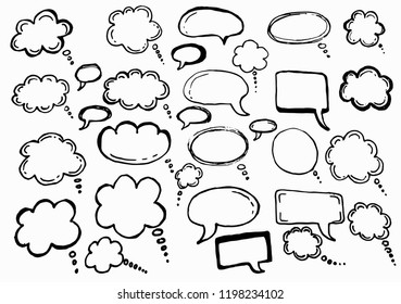 Doodle chat cartoon bubbles. Hand drawn vector set. Isolated on white background