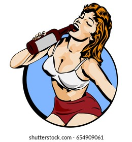 Doodle with a cheerful woman drinks wine from a bottle. Vector image