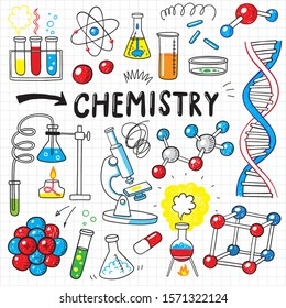 doodle chemistry science hand drawn icon set
