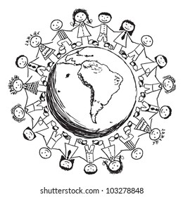 Doodle Children around the World - South America
