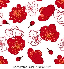 Doodle Chinese floral pattern background with plum blossom, prunus mume. Chinese new year pattern background. Cartoon hand drawn flowers background. Great for wallpaper, textile, fabric, card, fabric.