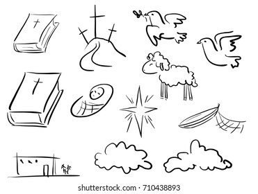 Doodle christian icons. Sketch elements from Bible stories, decor elements