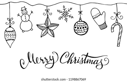 Doodle Christmas design elements. Cute hand drawn garland. Merry Christmas and New Year symbols, lettering. Vector illustration