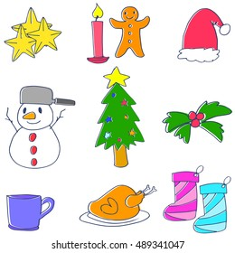 Doodle of christmas object vector art illustration