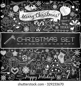 Doodle Christmas season icons and vintage graphic elements. Chalkboard effect. Santa Claus, reindeer, snow man, cute Christmas decorations, presents, snow flakes, stars. Scrapbooking, infographics.