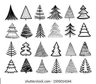 Doodle christmas tree. Winter holiday hand drawn elements. Retro xmas trees and happy new year sketch graphic vector isolated set