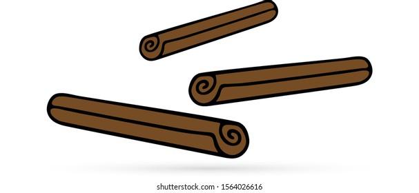 doodle cinnamon icon, kids hand drawing art line, dood sign, vector illustration
