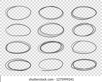 Doodle circles. Hand drawn ellipse, circular highlights old pencil sketch vector isolated set