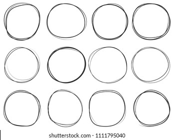 Doodle circles isolated on white. Vector illustration. Set of hand drawn empty frames for marking text. Sketch of various round scribbles. Black pen or pencil imitation.