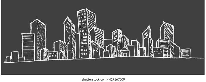 Doodle of cityscape Hand Draw vector illustration drawing line on chalkboard background