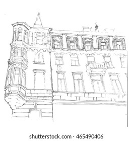 doodle of cityscape vector illustration drawing line