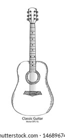 Doodle Classic Guitar Vector Illustration, EPS 10.