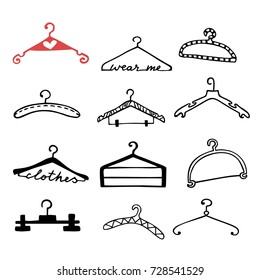 Doodle clothes hangers set. Hand drawn cute sketchy fashion style scribble. Graphic design elements for scrapbooking, advertisement, web site, prints, sale tags, invitation, flyer. Vector illustration