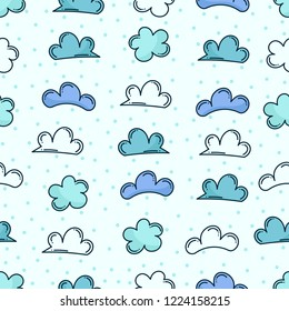 Doodle cloud seamless pattern