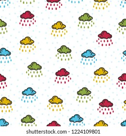 Doodle clouds and rain patterns