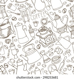 Doodle Coffee theme seamless pattern.Hand drawn rough linear beans,lettering,tableware,various kinds of coffee ingredients,devices for coffee making. Vector background for cafe menu,wallpaper,backdrop