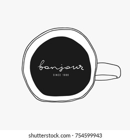 Doodle coffee vector illustration. Above cup view. Hand drawn cafe logo