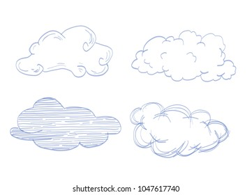 Doodle Collection of Hand Drawn Vector Clouds