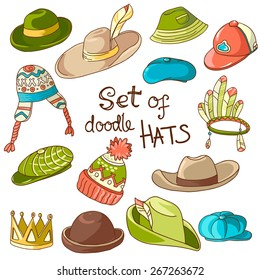 Doodle collection of hats