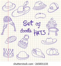 Doodle collection of hats in the notebook's sheet