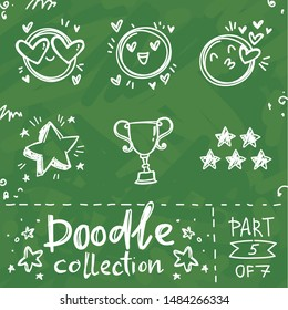 Doodle collection: love, kiss face emoji and stars, goblet, competition icons. Hand drawn vector illustration pictures with text on green school board in chalk style. Part 5 of 7