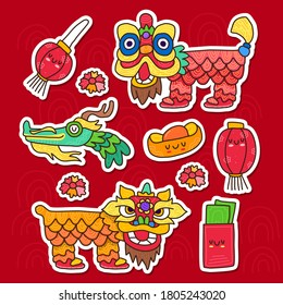 Doodle collection set of barongsai and chinese element