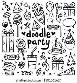 doodle collection set of party element on isolated white background. doodle party