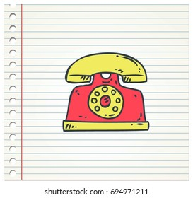 Doodle color of telephone icon