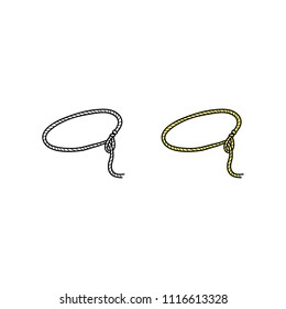 Doodle colored and outline lasso isolated on white background.
