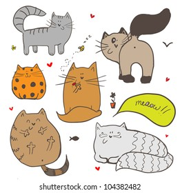 Doodle colorful cute cats background.