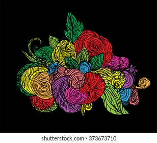 Doodle colorful flowers. Vector bouquet of flowers. Art floral pattern. henna. Hand drawn
